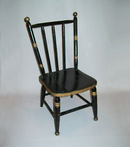 Old-Antique-Vtg-19th-C-1890s-Rod-Back-Fancy-Youth-Chair-Nice-Black-Gold-Paint