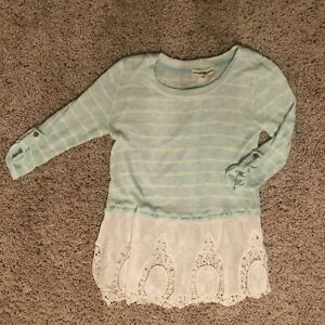 ALTAR-D-STATE-Long-Sleeve-Womens-Blouse-Lace-Green-White-Size-Women-s-Small