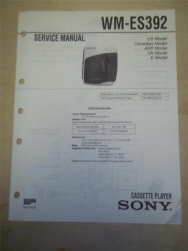Sony Service Manual~WM-ES392 Walkman Cassette Player~Original~Repair