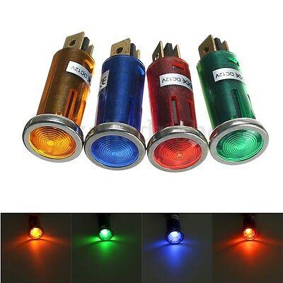 Universal Chrome LED Round Warning Indicator Car dash light 12v Lamp x 4 Pack