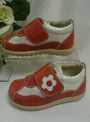 BABY SNEAKERS Kinder Schuhe Herbst MADE IN ITALY Gr. 24 Rot Glitzer LEDER