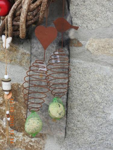 Edelrost Vogelfutter Aufhänger Spirale  2 x Futterhaus 000.712 Garten Dekoration