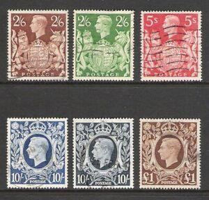 GREAT BRITAIN KG VI 1939-49 SET TO £1 (JF-F) *10/- DARK BLUE ACS PERFIN*