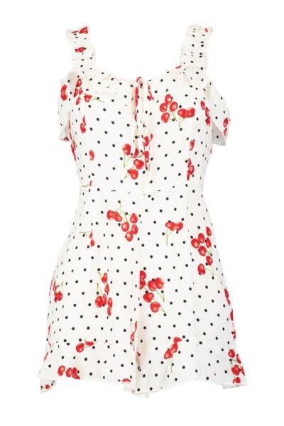 Boohoo Frill Shoulder Cherry Print Women's Playsuit, White - Size 10   Acquisti Online Su