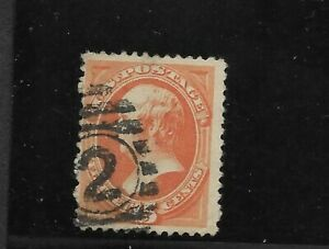 US-Scott-152-used-15c-bright-orange-Webster-1870-bank-note-nice-cancel-fine