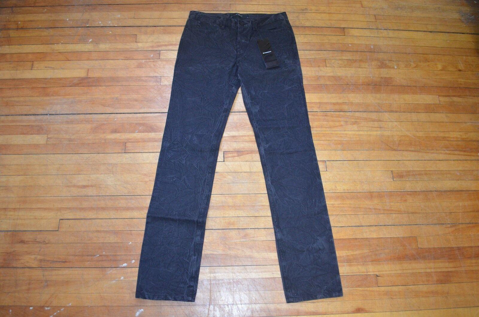 Givenchy Schmale Passform Schwarz Indigo Gefärbt Denim Jeans mit Faltig Effekt S
