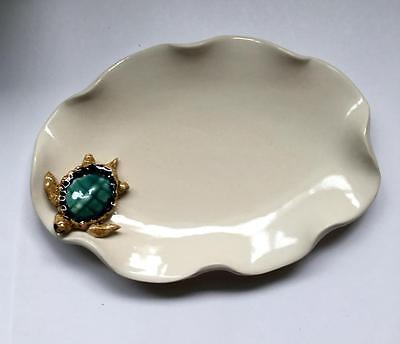 Blue Sky Pottery, Hand Crafted Porcelain Sea Turtle Serving Dish 0032