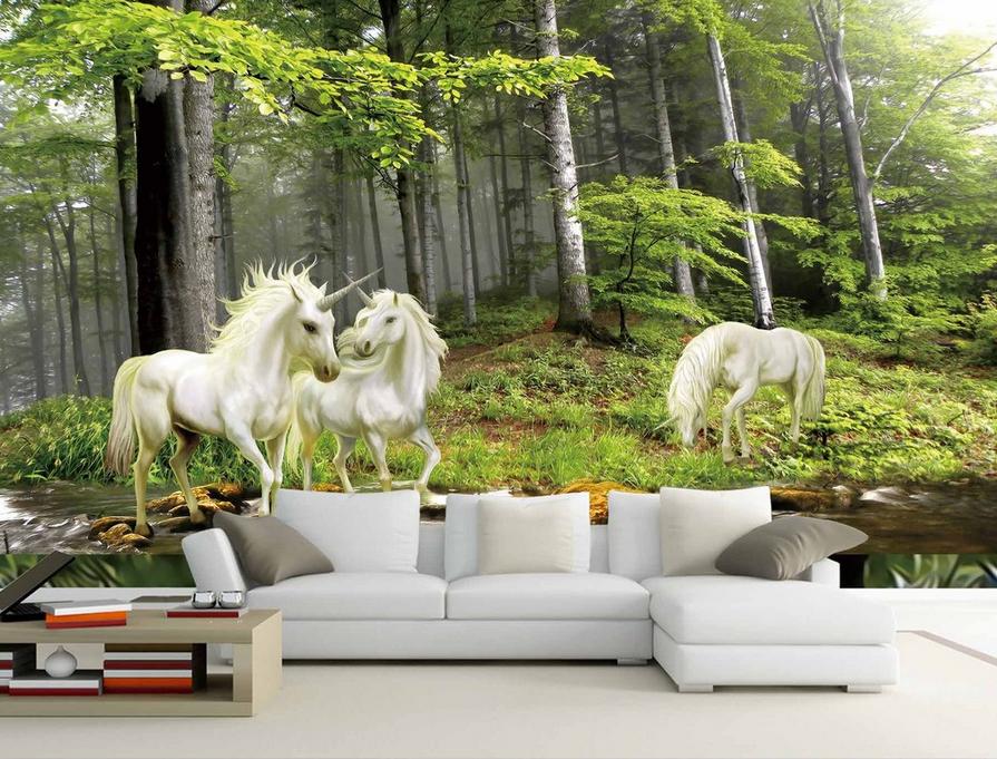 Papel Pintado Mural De Vellón Tres Unicornios Blancos 23 Paisaje Fondo Pantalla
