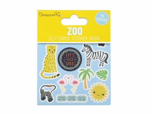 Zoo Dovecraft Paper Glitter Self Adhesive Card Craft Sticker Book