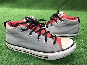 124374654474 Converse Junior Mid top Grey Red Double Wall Thick Size 4 Kids Boys ...