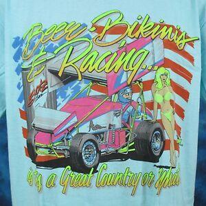Image Is Loading Vtg 80s SPRINT CAR RACING BEER BIKINI T