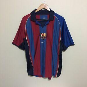 Barcelona-10-Rivaldo-Nike-2001-2002-LFP-Vintage-Football-Jersey-Mens-Large