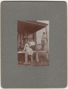 1910s-Tidal-Flat-House-on-Piles-with-Family-with-Oars-and-Nets-Mounted-Photo