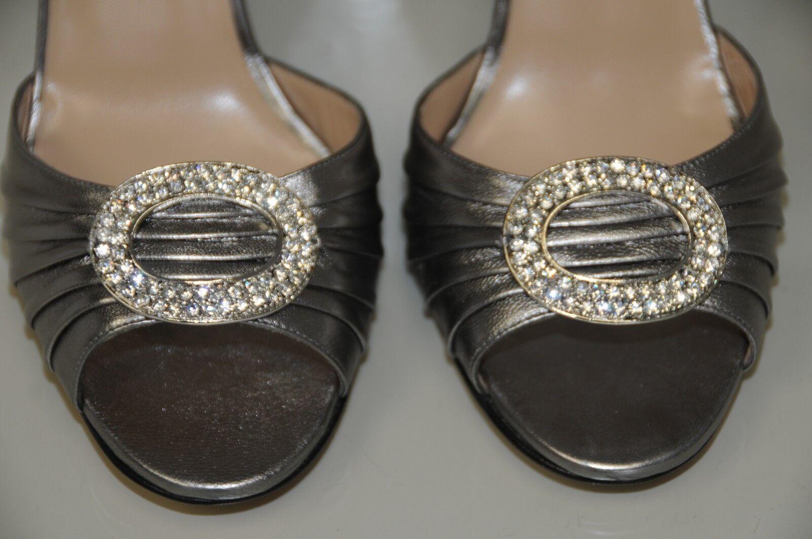New MANOLO BLAHNIK SEDARABY BIJ 105 Silver Metallic Jewele Wedding SHOES 40 41.5