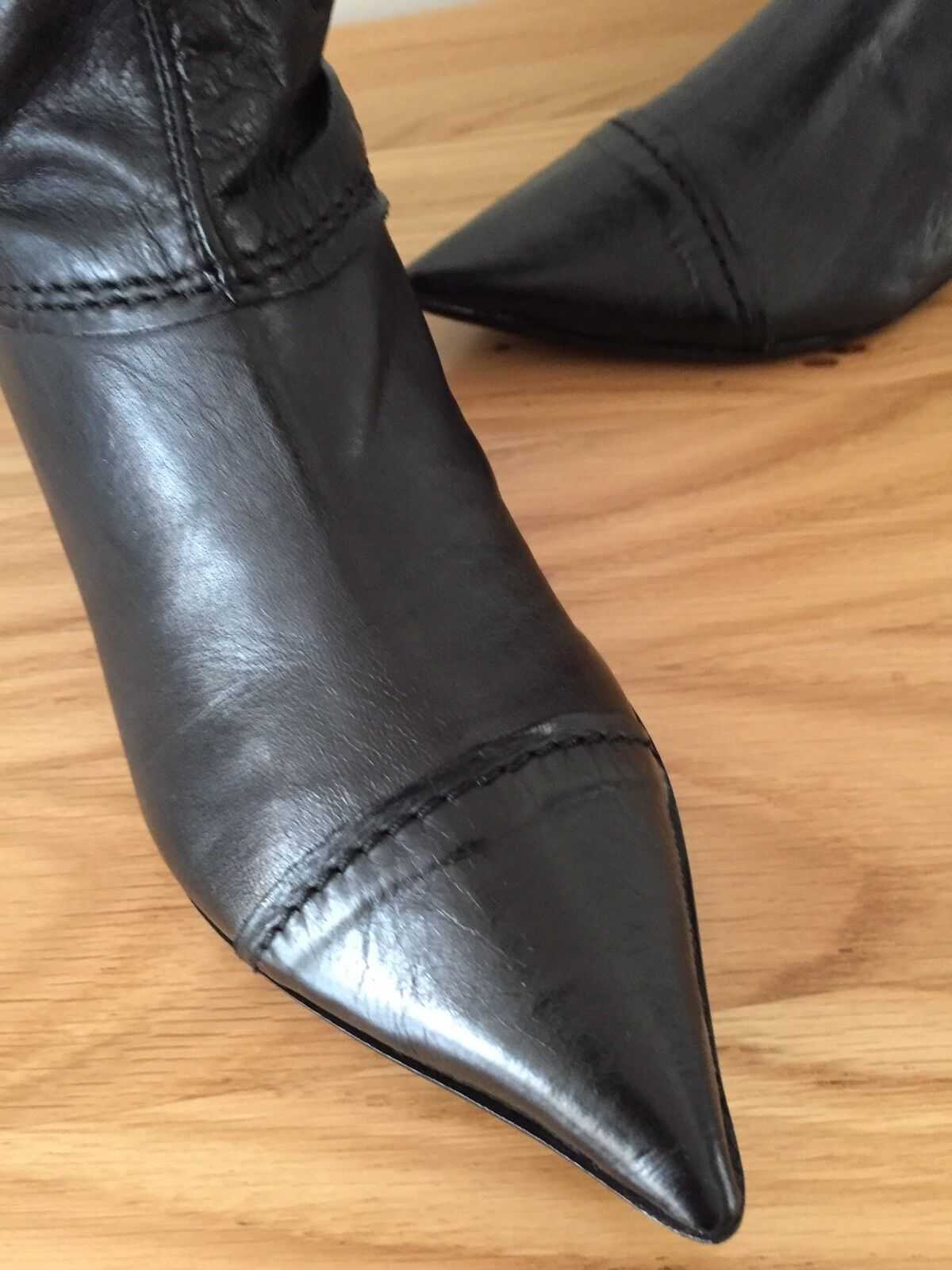 Gucinari Lady Boots Black Leather, 3cm heel,     size 7 40