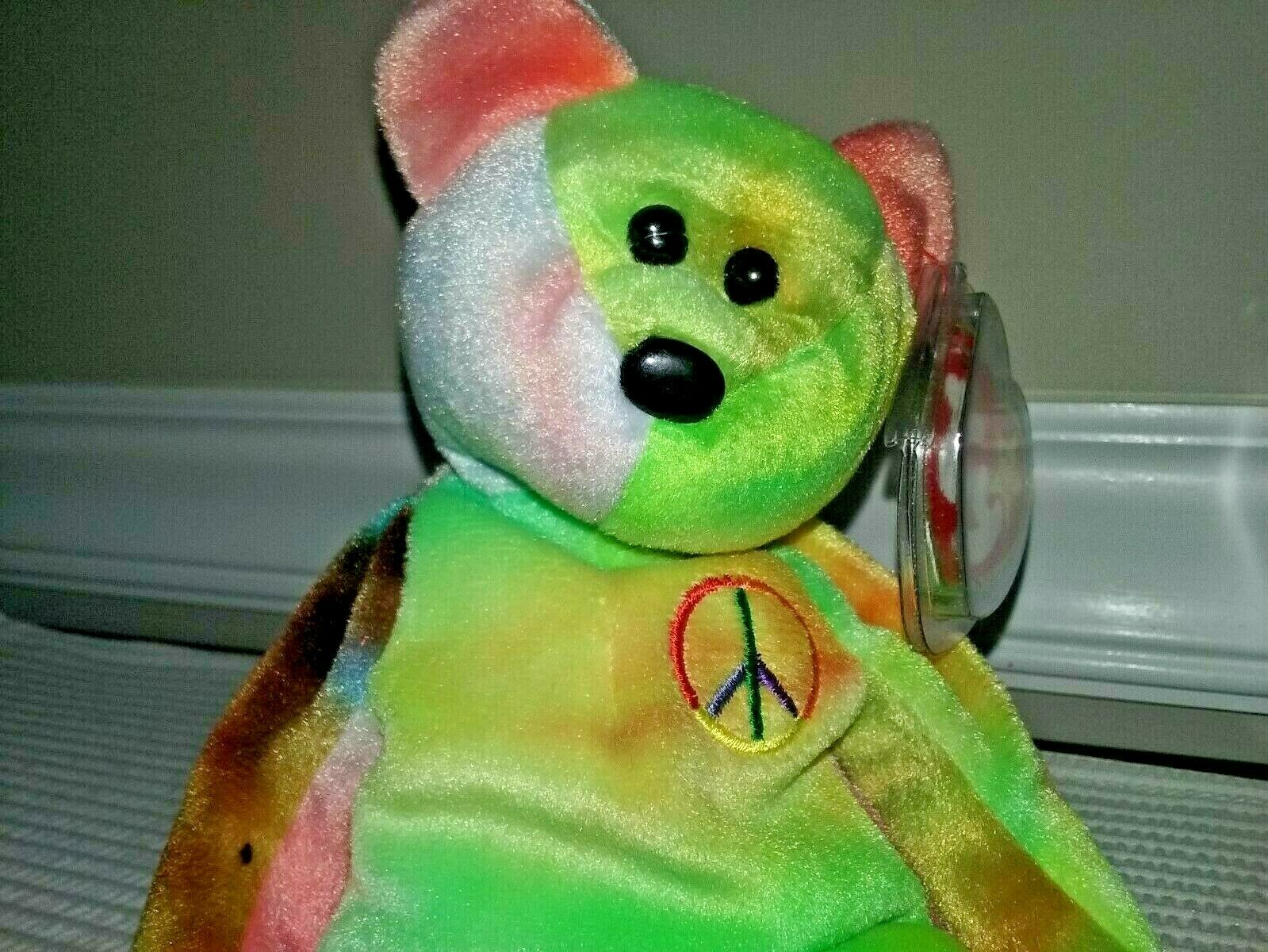 TY BEANIE BABY 1996      PEACE    TY-DYED  BEAR  (MINT WITH MINT TAGS) 181efb