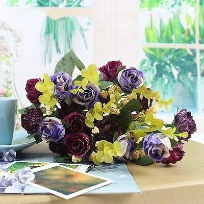 1 Bouquet 21Head Artificial Peony Silk Flower Leaf Home Party Wedding Decoration