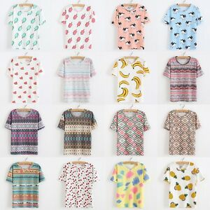 Fashion-Basic-T-shirt-Women-039-s-Loose-Fruit-Print-Short-Sleeve-Tee-Blouse-Tops