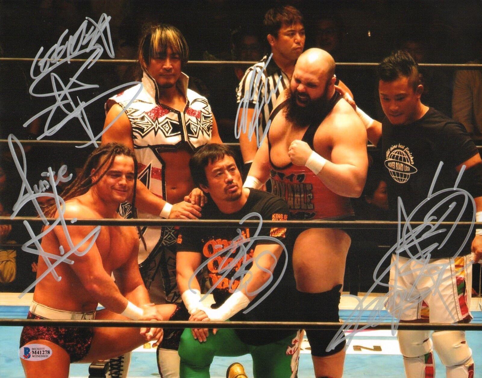 Hiroshi Tanahashi Jus Robinson Kushida + 2 Signé 11x14 Photo Bas COA Neuf Japon