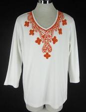 Quacker Factory L Top  Cotton knit White Orange Beaded Tunic 12