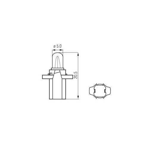 9 4 Stück Kunststoffsockel-Birne Anzeigenlampe  BAX B8,5d 12V 1,2W