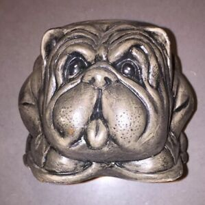 Vintage-Bulldog-Dog-Planter-Ceramic-Heavy-Figurine-Art-Pottery-Dark-Gray-4-034-x-4-034