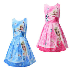 Girls-Skater-Dress-Kids-Frozen-Anna-Elsa-Print-Casual-Party-Birthday-Dresses-L3