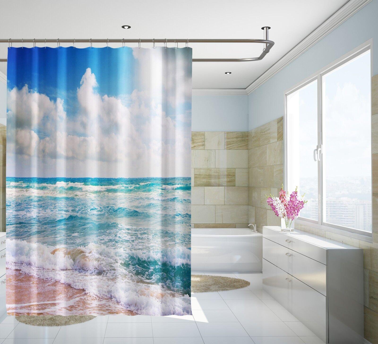 3D CIELO DA SPIAGGIA 1566 Tenda da doccia IMPERMEABILE Fibra Bagno WC CASA FINESTRE