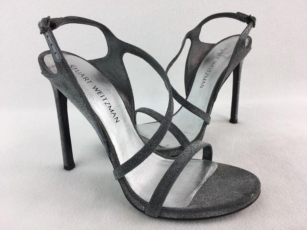 Stuart Weitzman Sensual Gunmetal Glitterati Evening Sandal Size 9M  D1914
