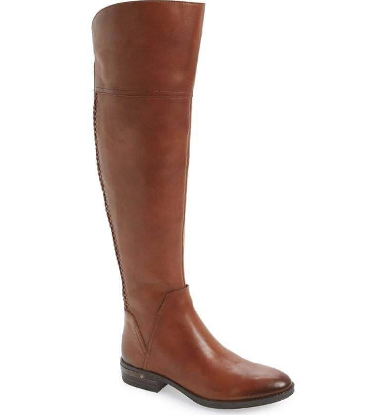 WOMENS VINCE CAMUTO BOOTS Pedra Over The Knee Leather Brown Riding Boot 6 M