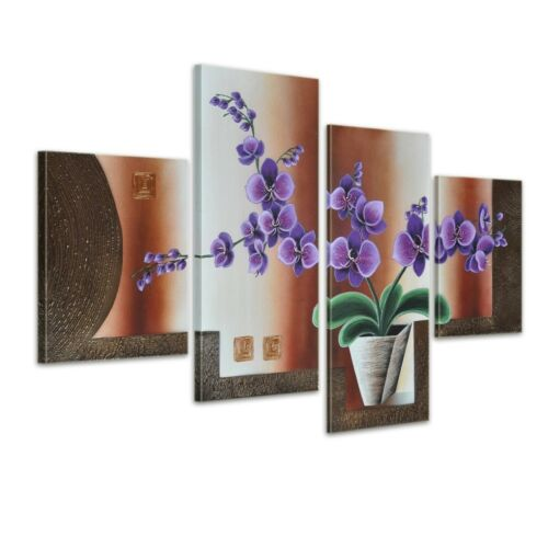 Leinwandbild 4 teilig 120x80cm Handgemalt Blumen M19