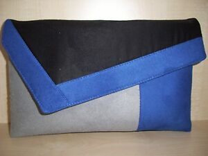 Image Is Loading Over Sized Royal Blue Grey Amp Black Faux