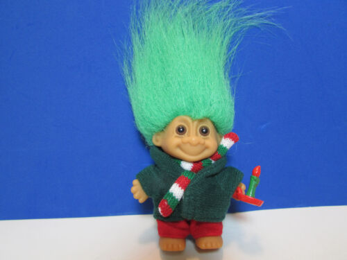 """3/"""" Russ Troll Doll TINY CHRISTMAS CAROLER ORNAMENT NEW IN WRAPPER"""