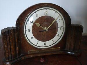 Vintage 1950's Oak Smiths Mantel Clock with Presentation Plaque (Quartz Battery)
