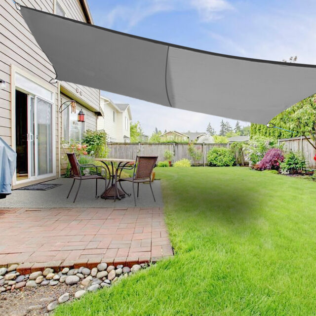 5m X 4m Sun Shade Sail Garden Awning Canopy 98 Uv Block Rectangle Anthracite
