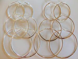 3-or-10-PAIRS-HOOP-EARRINGS-SILVER-GOLD-TONE-SIMPLE-THIN-HOOPS-3-75-034-2-75-034-1-75-034