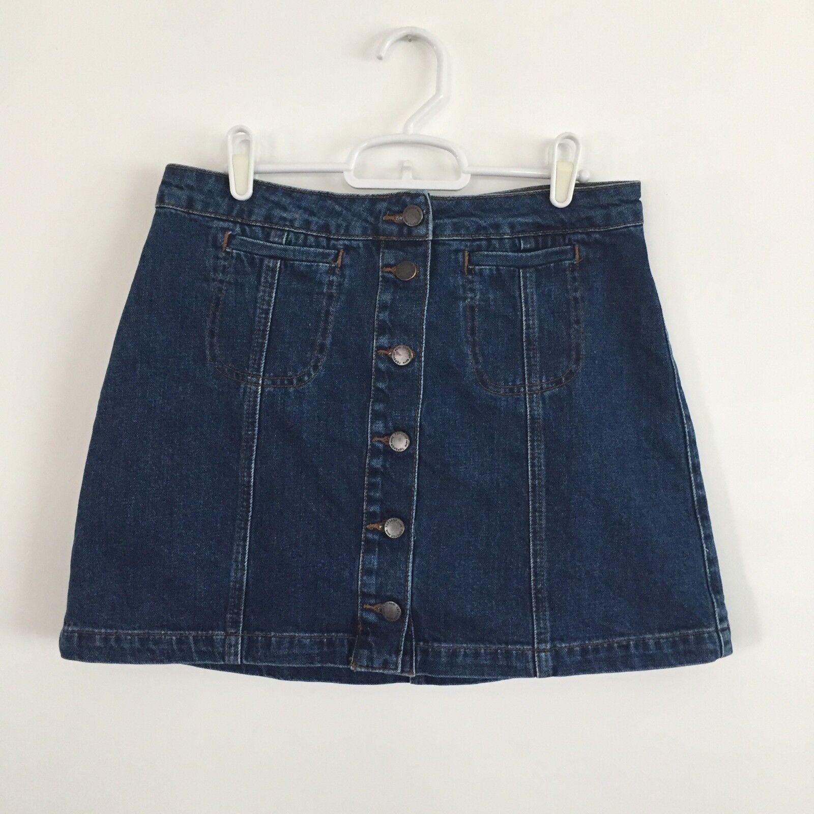 TOPSHOP Button Front Blue Denim Skirt A-Line Cott… - image 5
