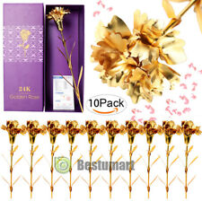 5x 24k Gold Plated Golden Carnation Rose Flowers+Crystal Necklace Birthday Gift