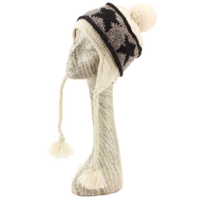 3633389f9c1 Bobble Hat Earflap Beanie Fleece Lined Wool Knit Winter Warm Ear Flap White  Star for sale online