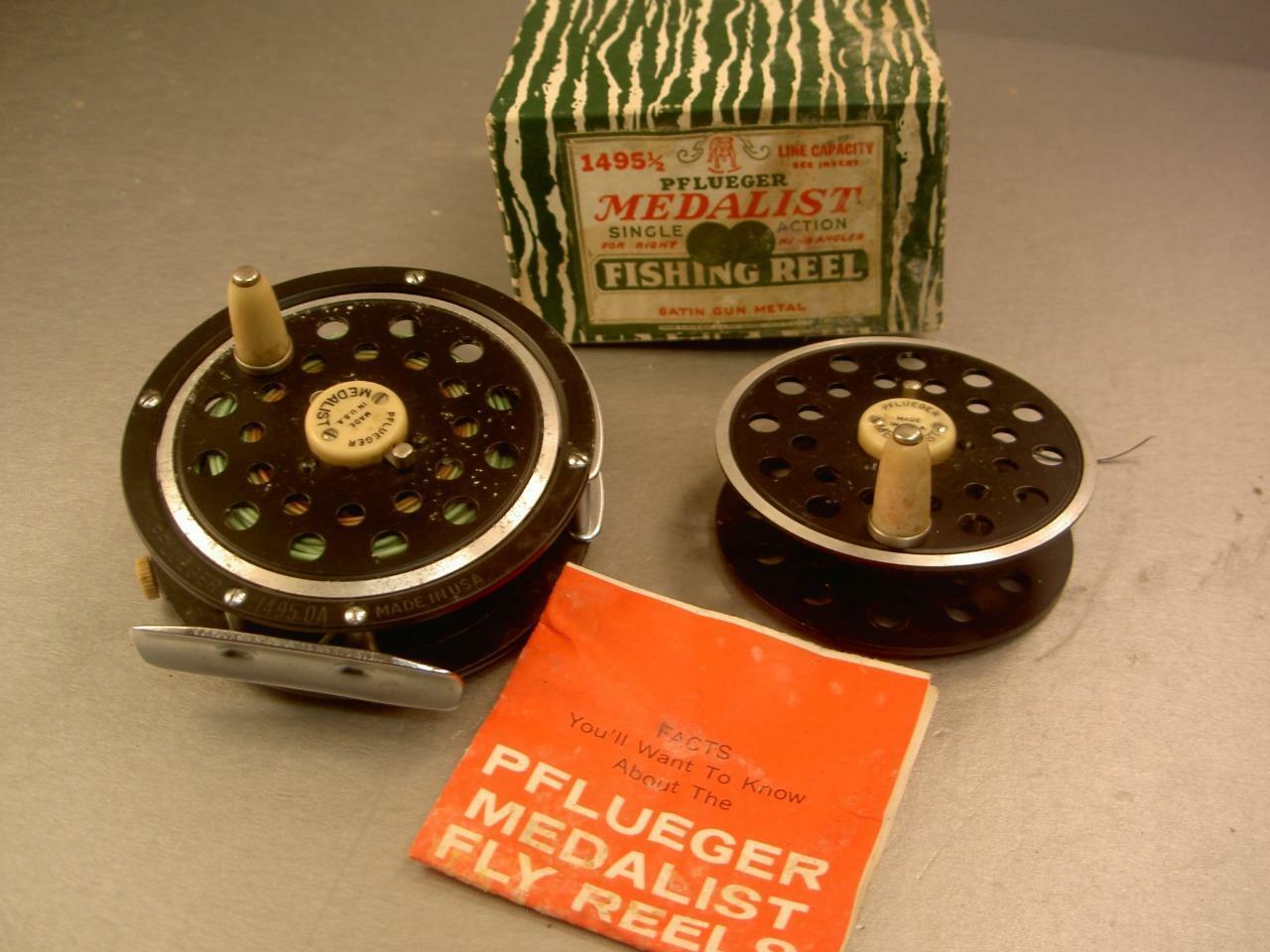 Vintage old VISSERIJREEL PFLUEGER MEDALIST 1495 1 2 BOX FLY SPOOL lokmiddel EXT