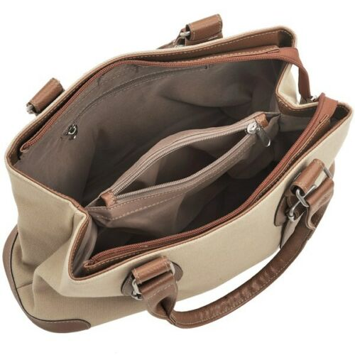 CANVAS BAG HANDBAG BROWN AND BEIGE WITH BUCKLES NEW WITH TAGS HANDLES