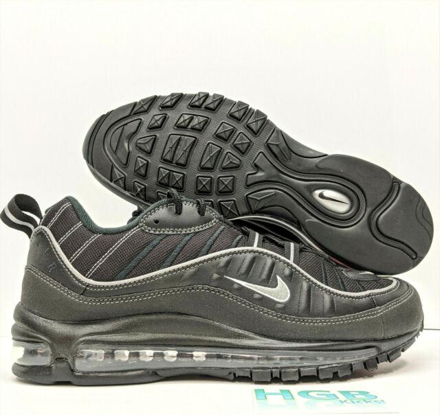 Nike Air Max 98 Size 9 Black Metallic Silver Oil Grey Mens Shoe