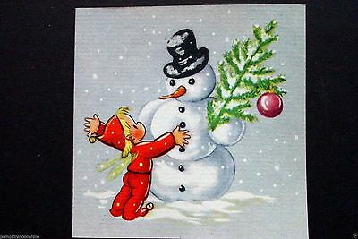 Vintage Unused 1946 Brownie Xmas Greeting Card Pixie Angel Hugging the Snowman