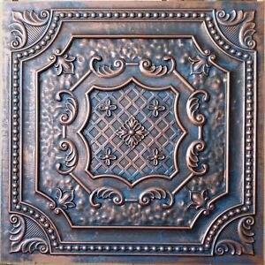 Image Is Loading Suspended Ceiling Tiles Faux Tin Rust Copper Decor