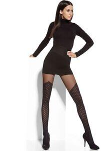 f94975c14 Plus Size Mock Over The Knee Black Tights - Polka Dot Patterned ...