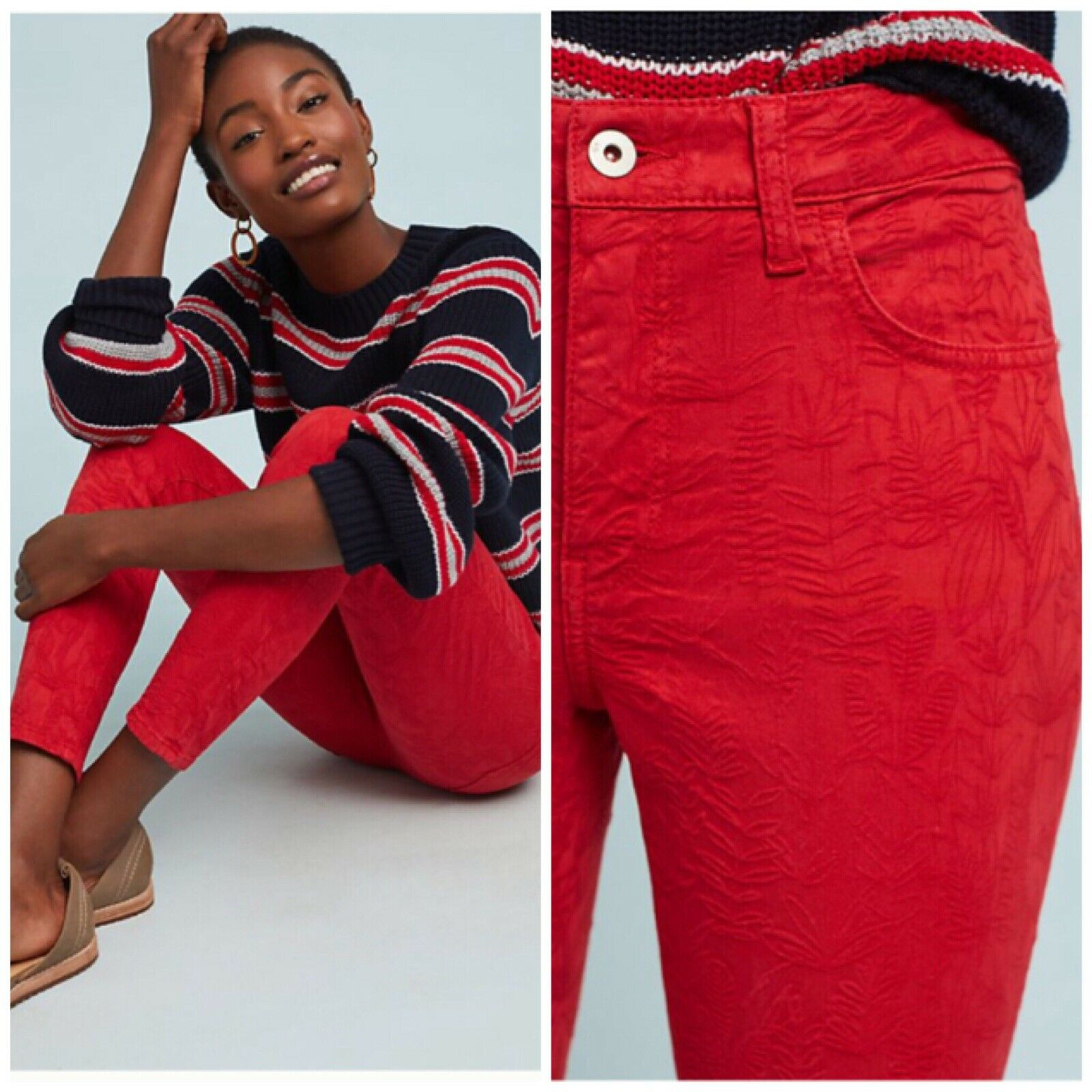 Anthropologie Pilcro High-Rise Skinny Jean Size 25 Woman New Red Subtle Print