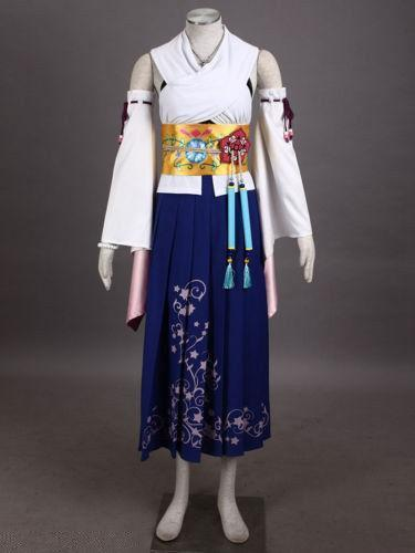 Fantasy X 10 Yuna Summoned Deluxe Cosplay Costume Full Set Girls Dress