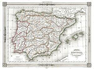 Cartina Spagna Antica.Carta Geografica Antica E Originale Smith Ch 1843 Spagna Portogallo Ebay