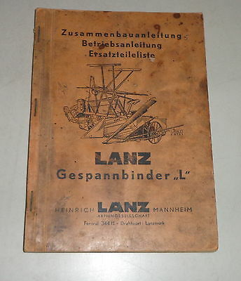 Intellective Operating Instructions/parts Catalog Lanz Gespannbinder L Tractor Manuals & Publications