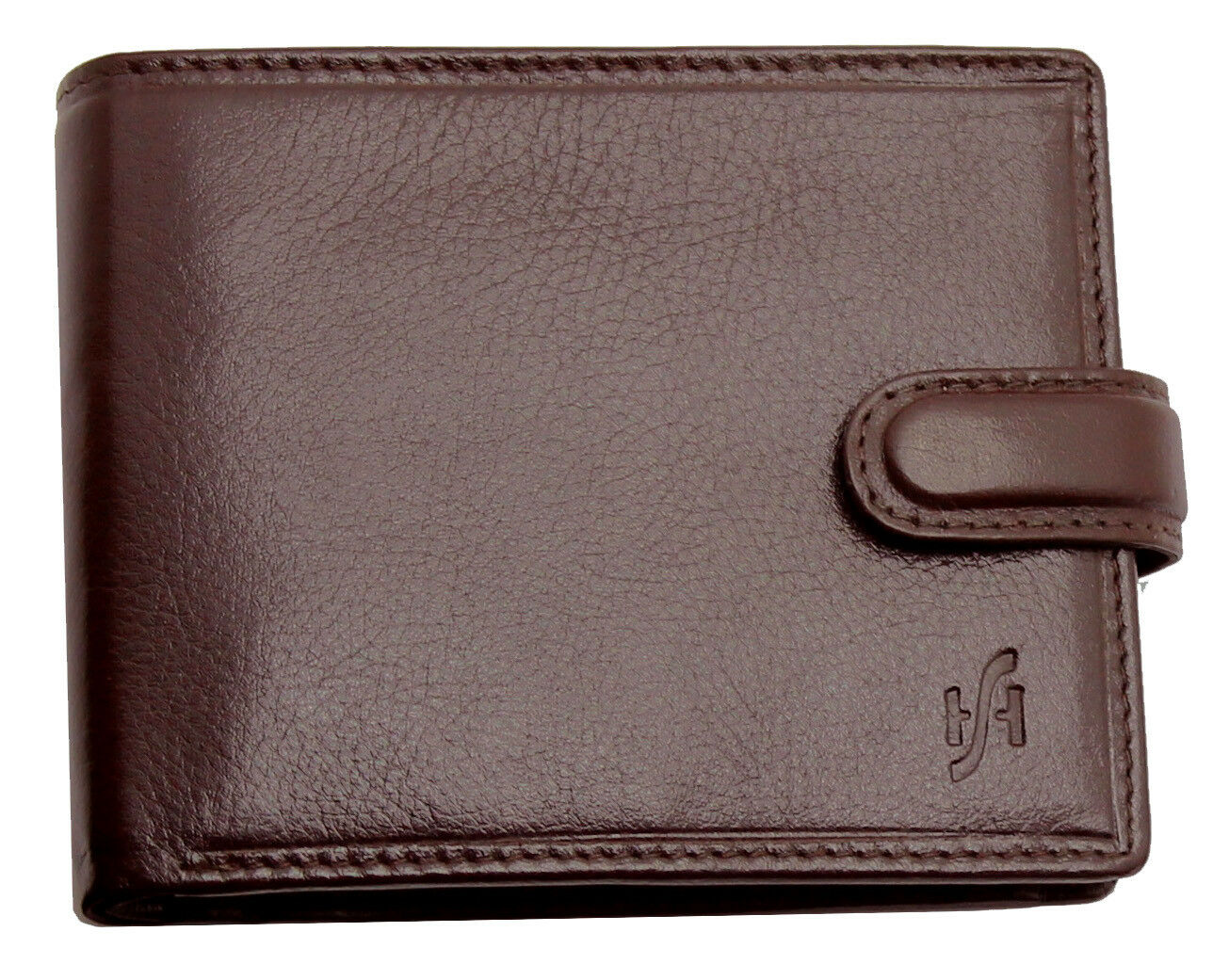 Mens RFID Blocking VT Leather Trifold Wallet Brown